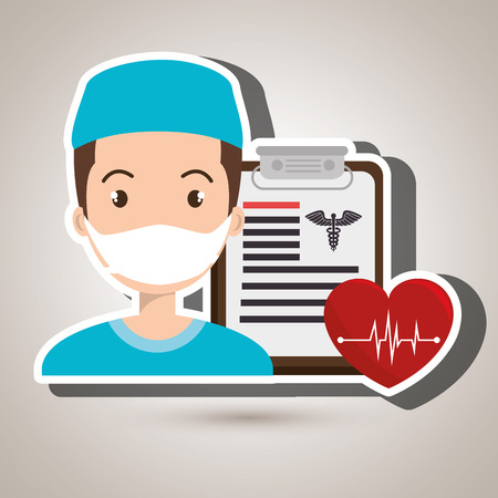 nurse heart clipboard medicine vector illustration graphic Illustration