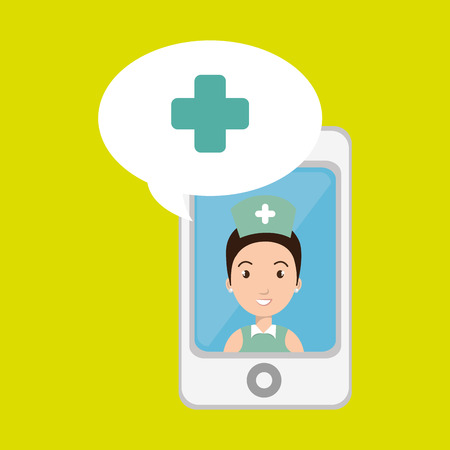 nurse  smartphone graphic vector illustration Illustration