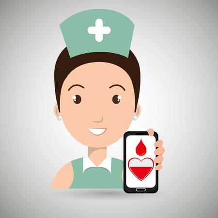 transfuse: nurse cross smartphone graphic vector illustration