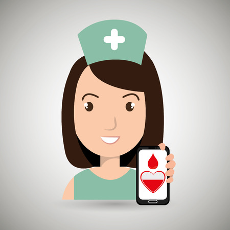 nurse cross smartphone graphic vector illustration