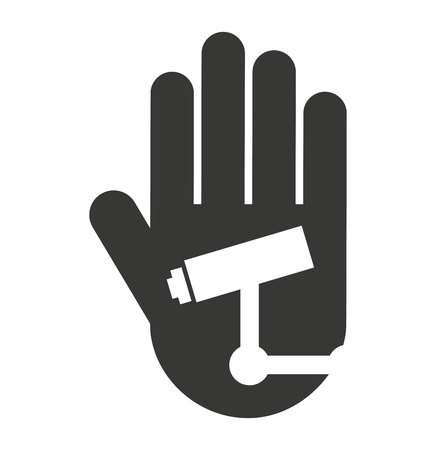 protected: hand human stop video camera silhouette vector isolated graphic