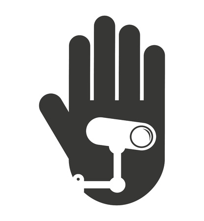stop hand silhouette: hand human stop video camera silhouette vector isolated graphic