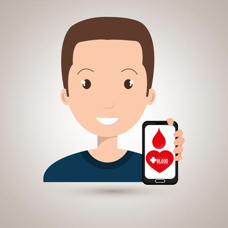 donor blood type: man crooss smartphone graphic vector illustration eps 10 Illustration
