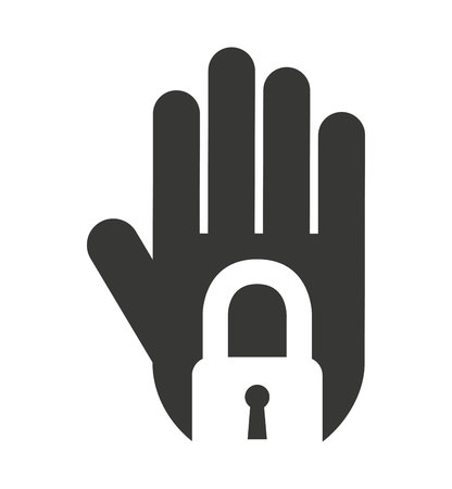 stop hand silhouette: hand human stop padlock silhouette vector isolated graphic Illustration