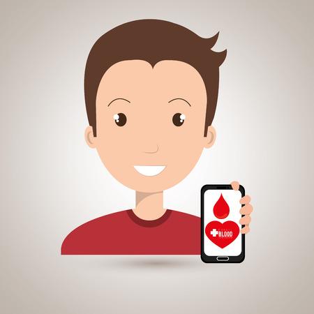 salvavidas: man crooss smartphone graphic vector illustration eps 10 Vectores