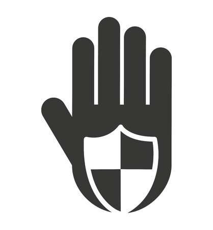 stop hand silhouette: hand human stop shield silhouette vector isolated graphic