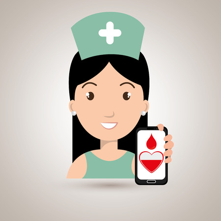 donor blood type: nurse with smartphone graphic vector illustration Illustration