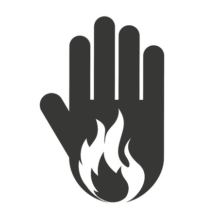 stop hand silhouette: hand human stop fire flame silhouette vector isolated graphic Illustration