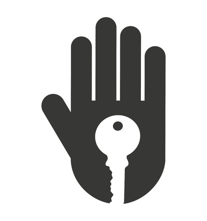 handful: hand human stop key silhouette vector isolated graphic Illustration