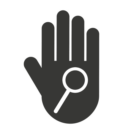 stop hand silhouette: hand human stop magnifying glass silhouette vector isolated graphic