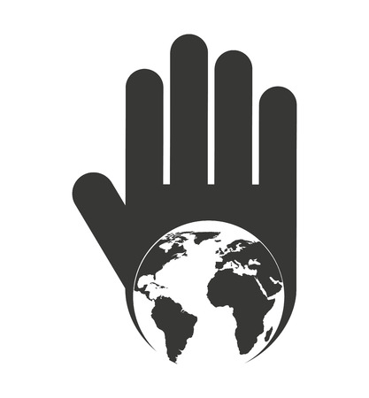 stop hand silhouette: hand human stop planet earth silhouette vector isolated graphic Illustration