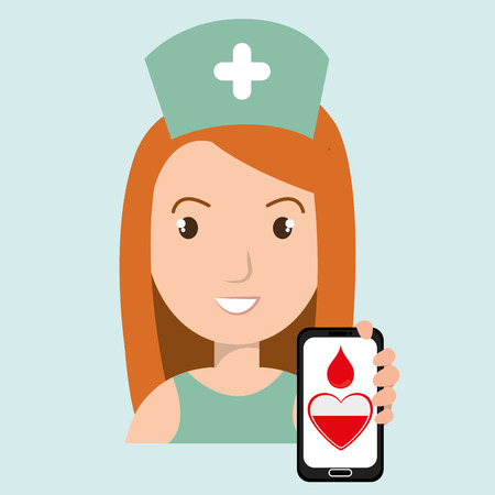 transfuse: nurse with smartphone graphic vector illustration Illustration