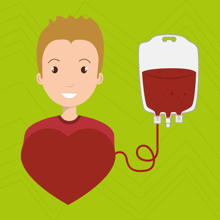 donor blood type: man blood donor red graphic vector illustration Illustration