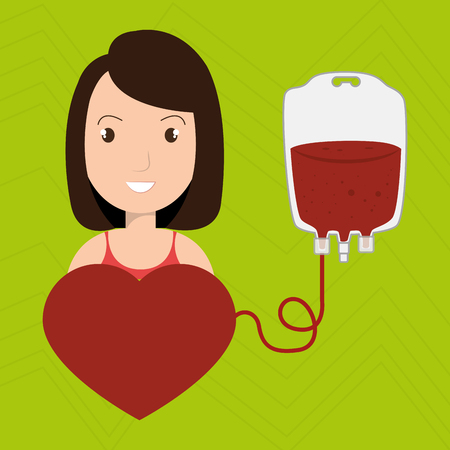 transfused: woman blood heart red graphic vector illustration Illustration