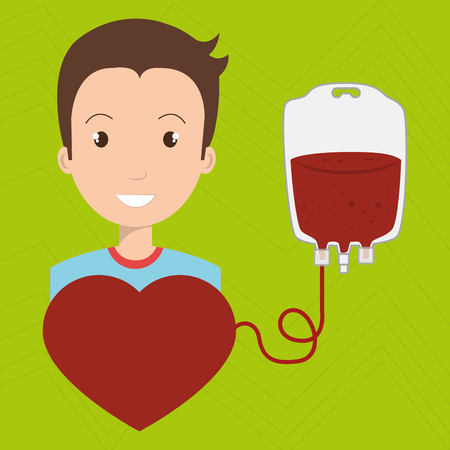transfused: man blood donor red graphic vector illustration Illustration