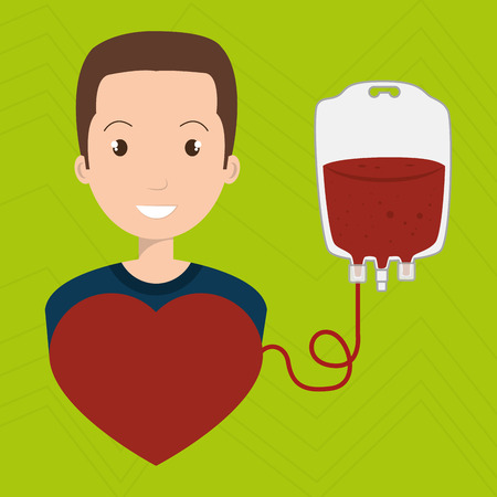 transfuse: man blood donor red graphic vector illustration Illustration