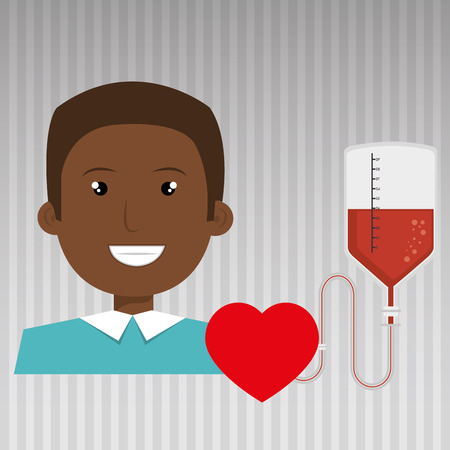 hematology: man blood donor red graphic vector illustration Illustration