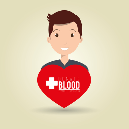 donor: man blood donor red graphic vector illustration Illustration