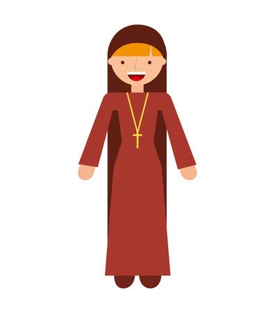 religious habit: nun woman religion icon vector isolated design