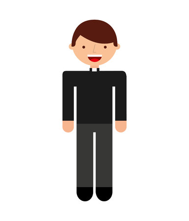 christian young: priest man religious icon vector isolated design Illustration
