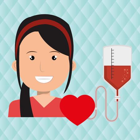 servicios publicos: mujer de corazón de sangre roja ilustración gráfica del vector