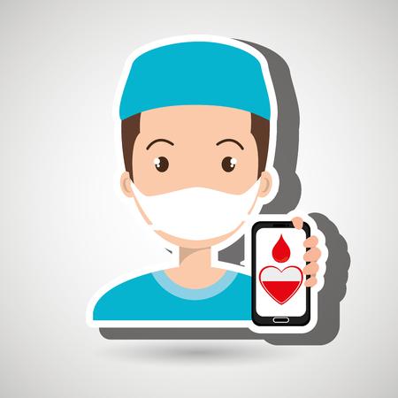 salvavidas: nurse with smartphone graphic vector illustration Vectores