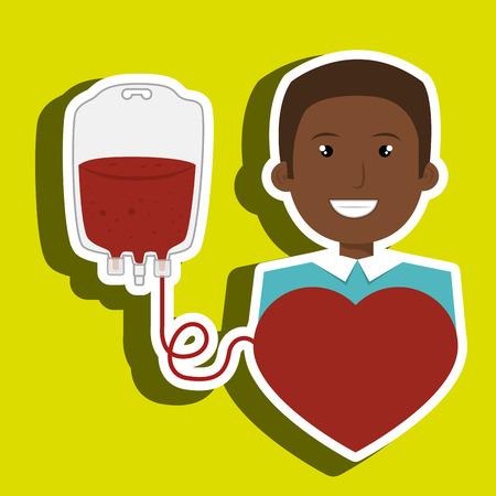 man blood donor red graphic vector illustration Illustration