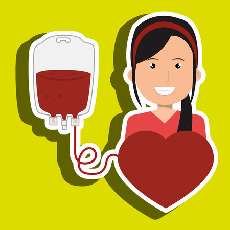 transfuse: woman blood heart red graphic vector illustration Illustration