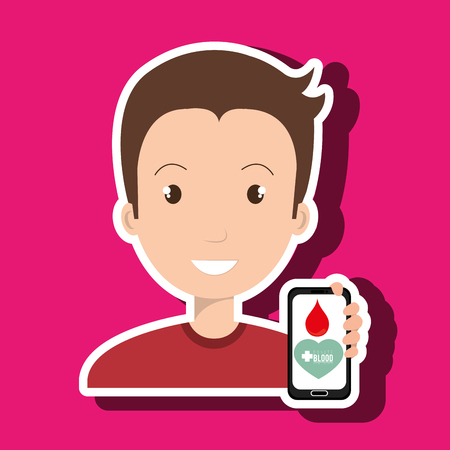 donor blood type: man with smartphone graphic vector illustration Illustration