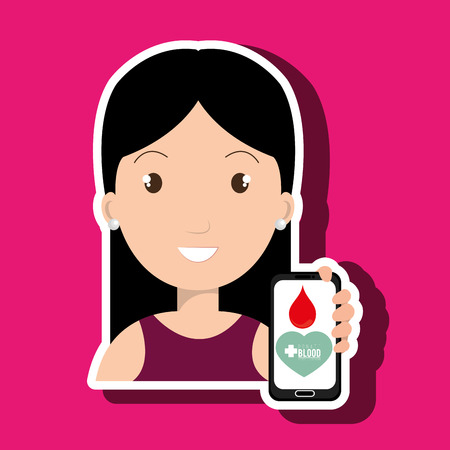 transfuse: woman with smartphone graphic vector illustration Illustration