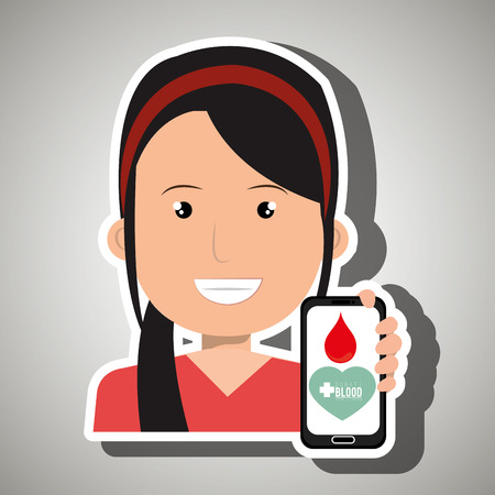 donor blood type: woman with smartphone graphic vector illustration Illustration