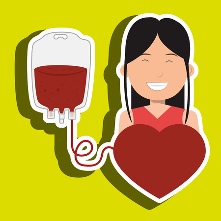 public health services: woman blood heart red graphic vector illustration Illustration
