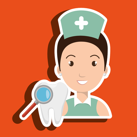 odontology: nurse tooth search medical vector illustration