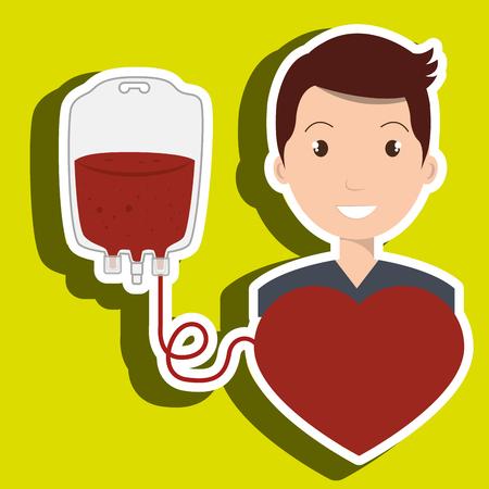 transfuse: man blood donor red graphic vector illustration Illustration