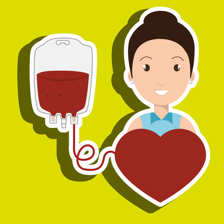 donor blood type: woman blood heart red graphic vector illustration Illustration