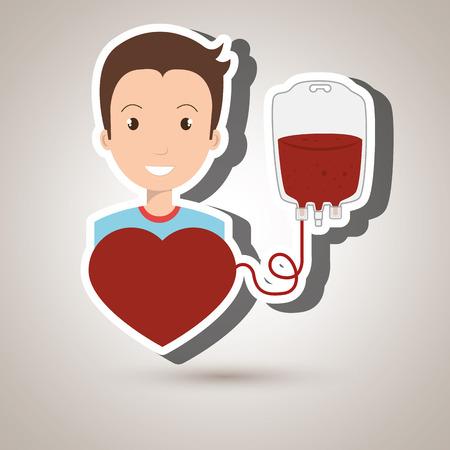 salvavidas: hombre de la sangre del donante ilustración gráfica roja del vector