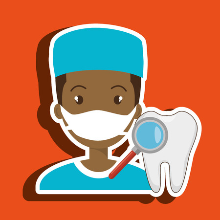 nurse tooth search medical vector illustration