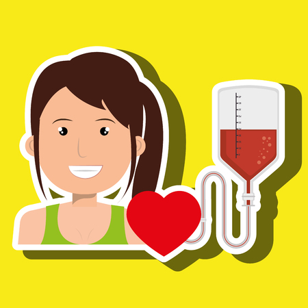 woman blood heart red graphic vector illustration Illustration