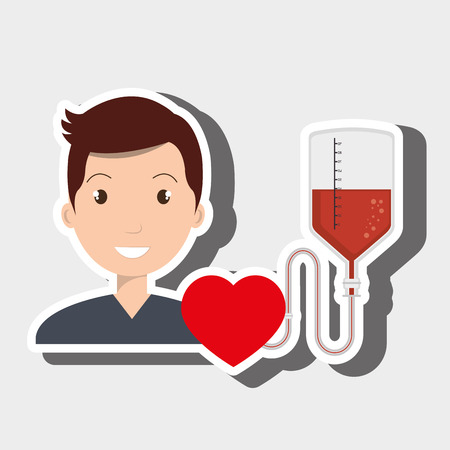man blood donor red graphic vector illustration Illustration