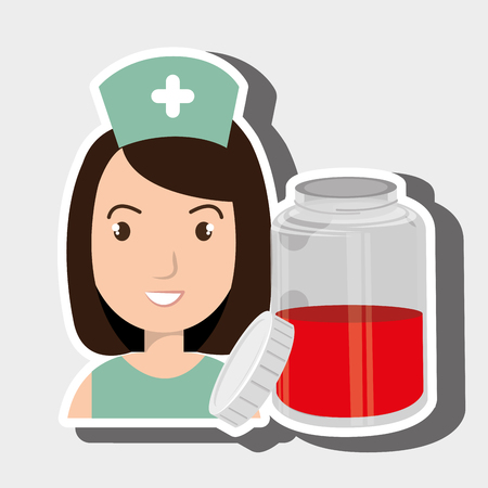 nurse with smartphone graphic vector illustration Illustration