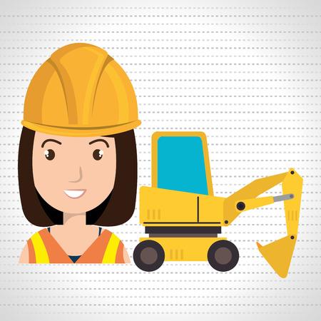 woman construction tool work vector illustration graphic Illustration