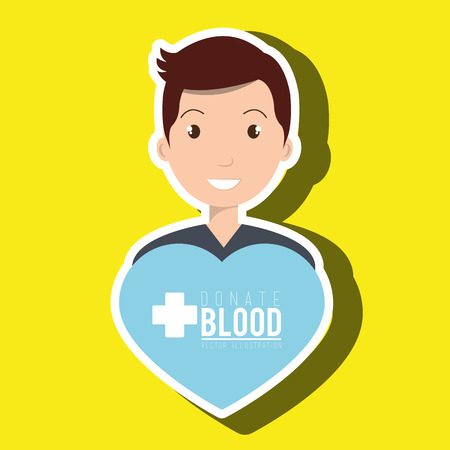 donor: man blood donor graphic vector illustration