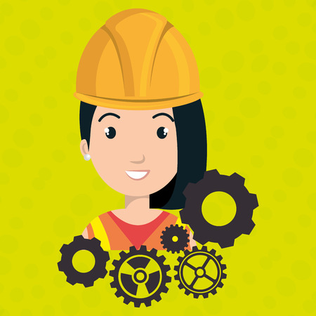 woman construction gears work vector illustration graphic