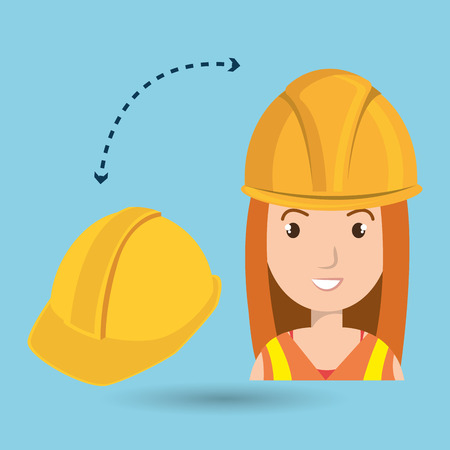 apprentice: woman construction tool work vector illustration graphic Stock Photo