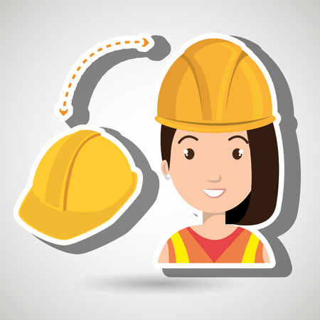 woman construction tool work vector illustration graphic Illustration