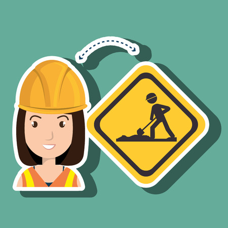 apprentice: woman construction tool work vector illustration graphic Illustration