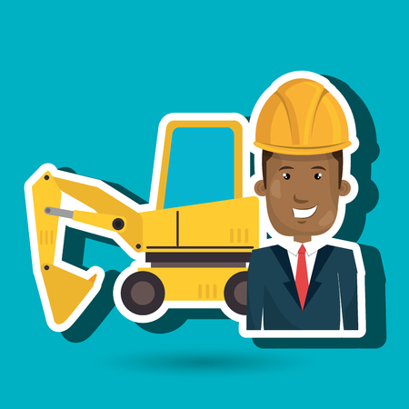 executive helmet: man construction tool work vector illustration graphic