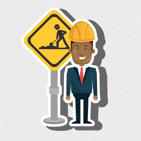 executive helmet: man construction tool work vector illustration graphic