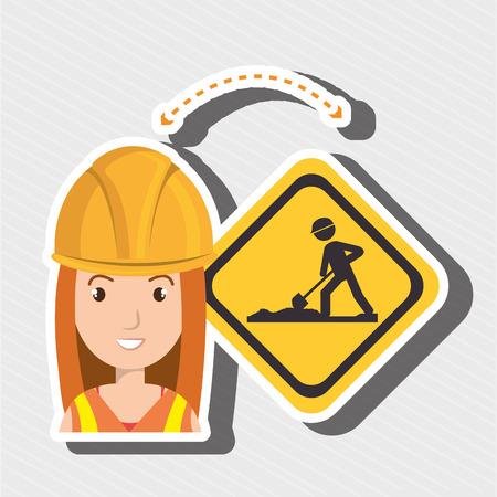 topografo: Mujer herramienta de construcción ilustración vectorial obra gráfica
