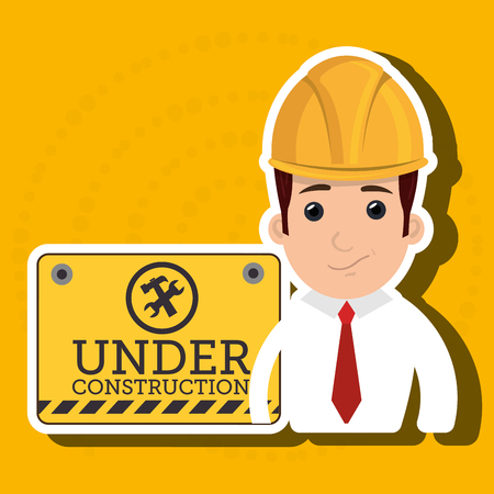 man construction tool work vector illustration graphic